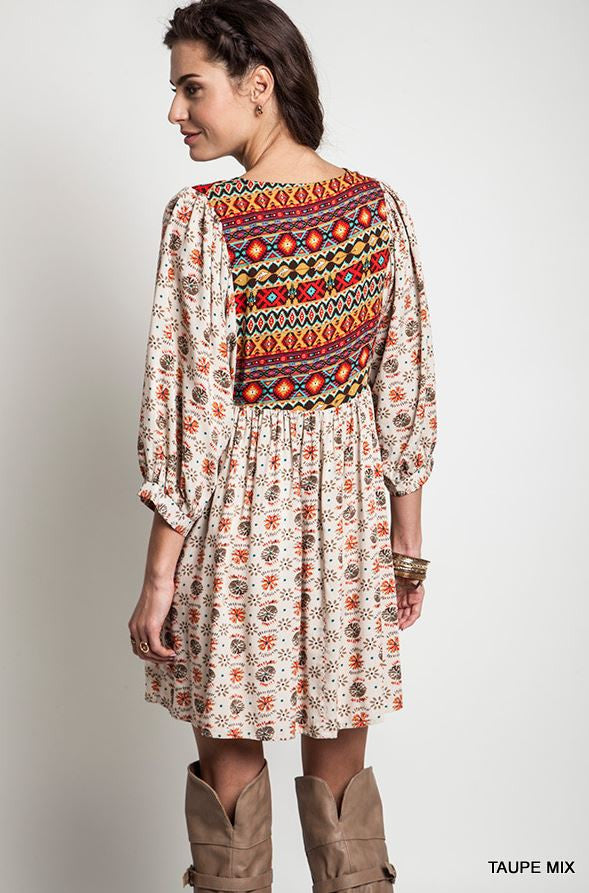 Navajo Winter Moon Top - Taupe - Umgee - Dress - Angel Heart Boutique  - 7
