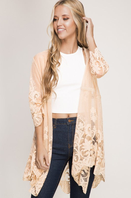 Lace & Grace Cardigan - Taupe - She+Sky - Cardigan - Angel Heart Boutique  - 1