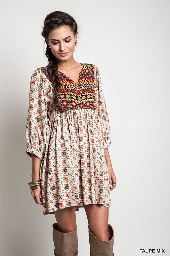 Navajo Winter Moon Top - Taupe - Umgee - Dress - Angel Heart Boutique  - 5