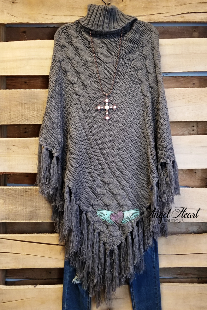 Sweet and Cozy Poncho - Grey - SALE