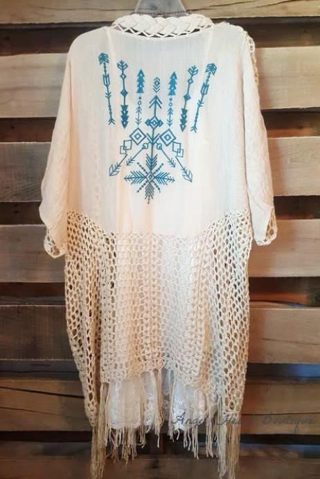 Follow Your Arrow Cardigan - Natural - Kori America - kimono - Angel Heart Boutique  - 3