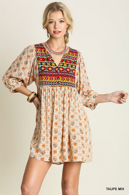 Navajo Winter Moon Top - Taupe - Umgee - Dress - Angel Heart Boutique  - 1