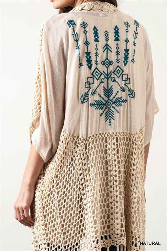 Follow Your Arrow Cardigan - Natural - Kori America - kimono - Angel Heart Boutique  - 2
