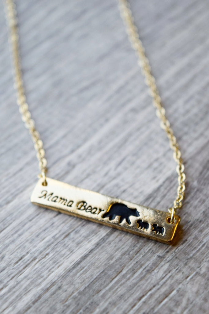 Mama Bear Necklace - Golden [product type] - Angel Heart Boutique
