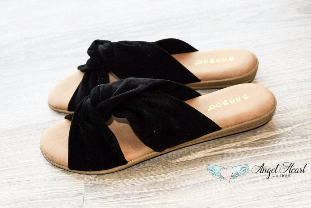 Tie The Knot Sandals - Black - SALE (Sizes 6 to 8.5) [product type] - Angel Heart Boutique