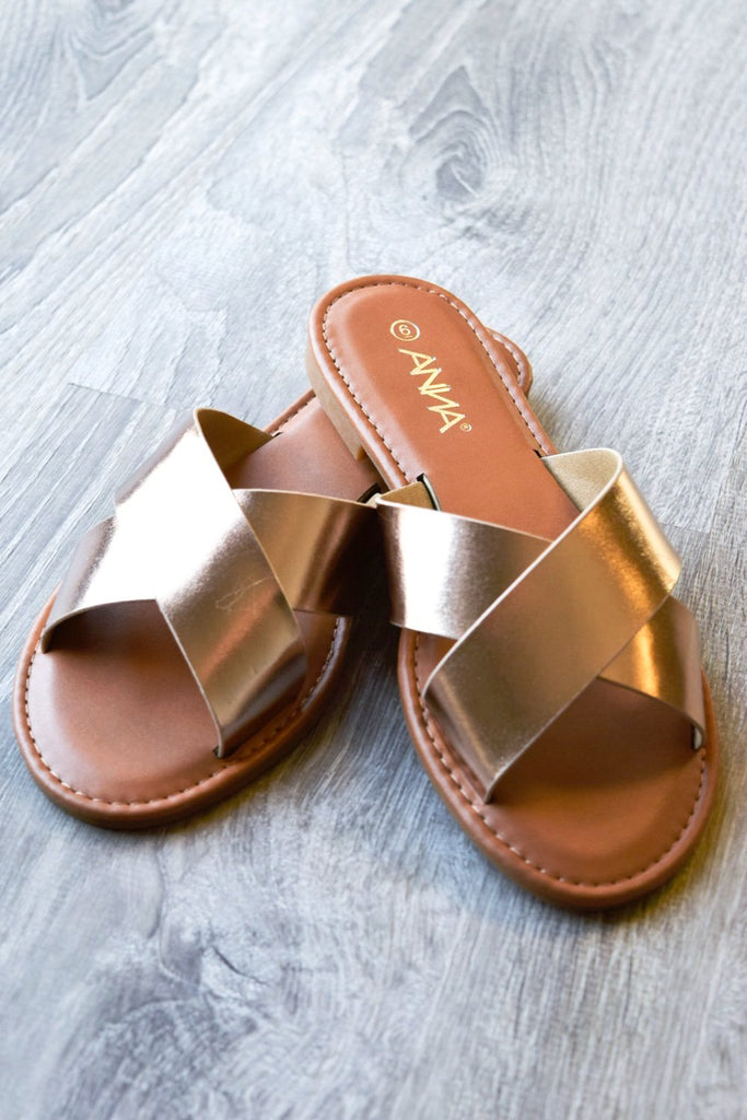 Comfy Flat Everyday Sandals - Rose Gold -SALE [product type] - Angel Heart Boutique
