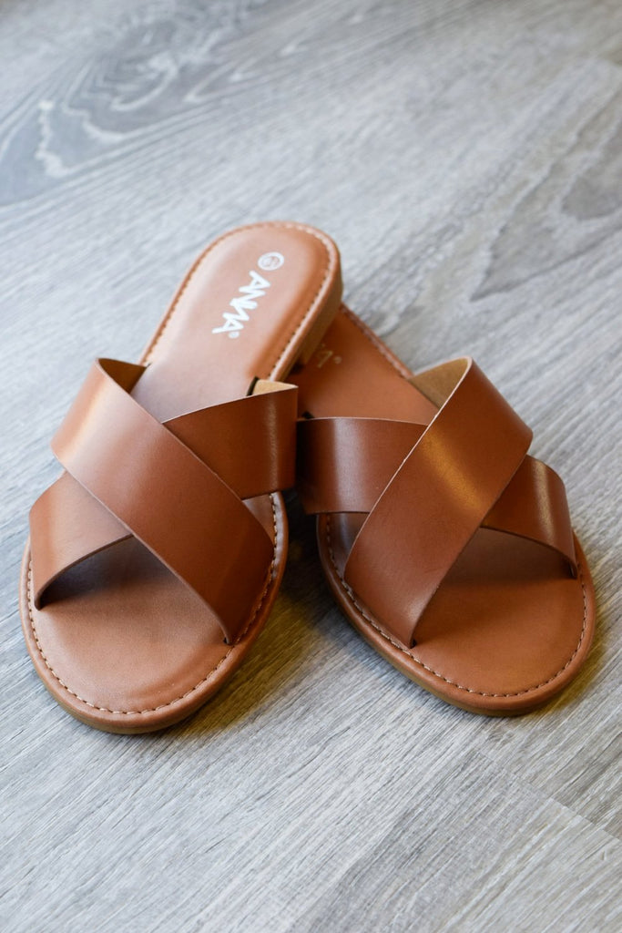 Comfy Flat Everyday Sandals - Tan - SALE [product type] - Angel Heart Boutique