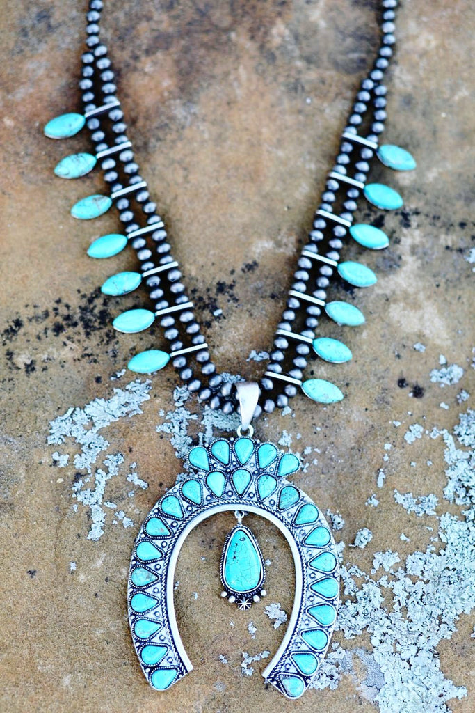 AUTHENTIC Turquoise Stone - Squash Necklace [product type] - Angel Heart Boutique