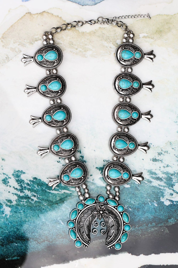 Squash Bloom Into The Wild Necklace - Turquoise [product type] - Angel Heart Boutique