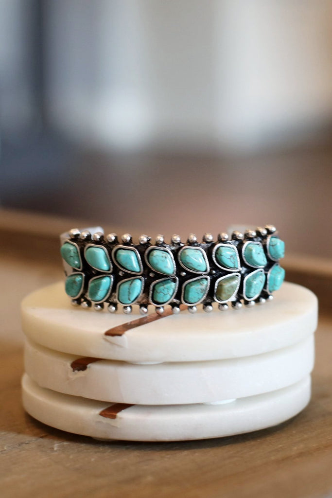 AUTHENTIC TURQUOISE STONES - WIDE CUFF BRACELET [product type] - Angel Heart Boutique
