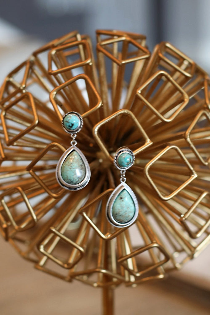 AUTHENTIC TURQUOISE STONE - Bali Earrings [product type] - Angel Heart Boutique
