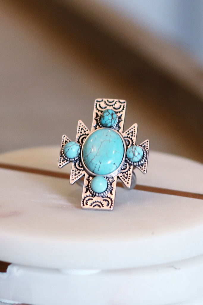 AUTHENTIC TURQUOISE STONE - Texas Adjustable Ring [product type] - Angel Heart Boutique