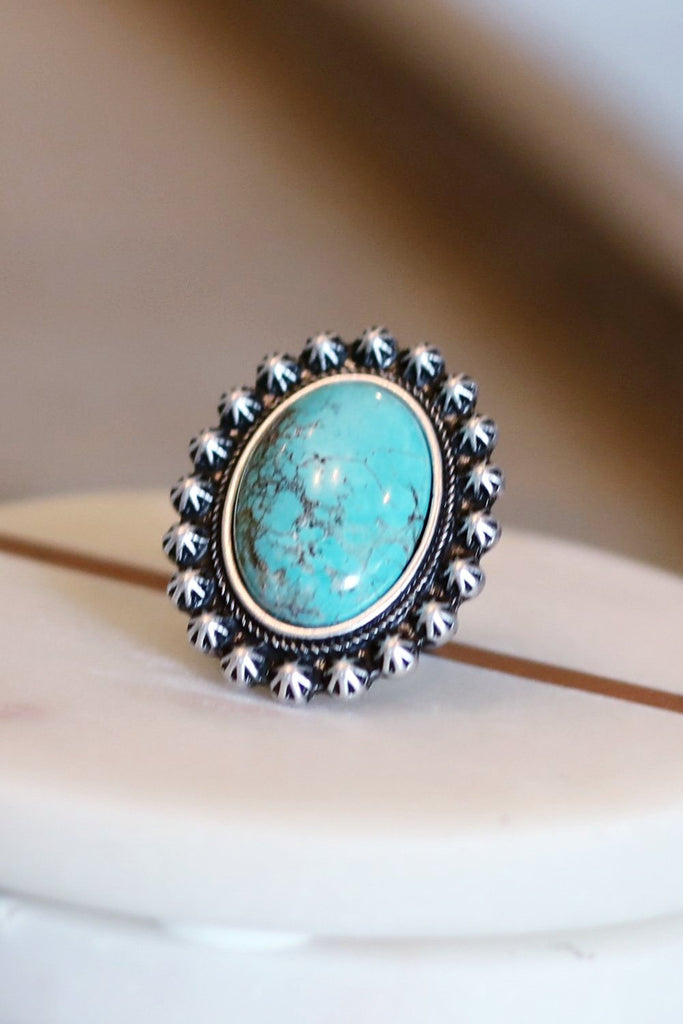 AUTHENTIC TURQUOISE STONE - Nile Adjustable Ring [product type] - Angel Heart Boutique