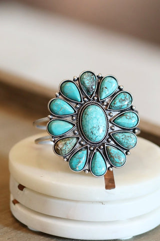 AUTHENTIC TURQUOISE STONES - WIDE CUFF BRACELET