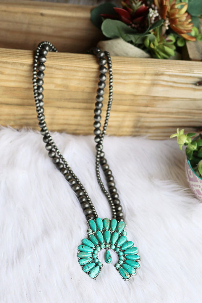 AUTHENTIC TURQUOISE STONES - CHEROKEE NECKLACE - Turquoise