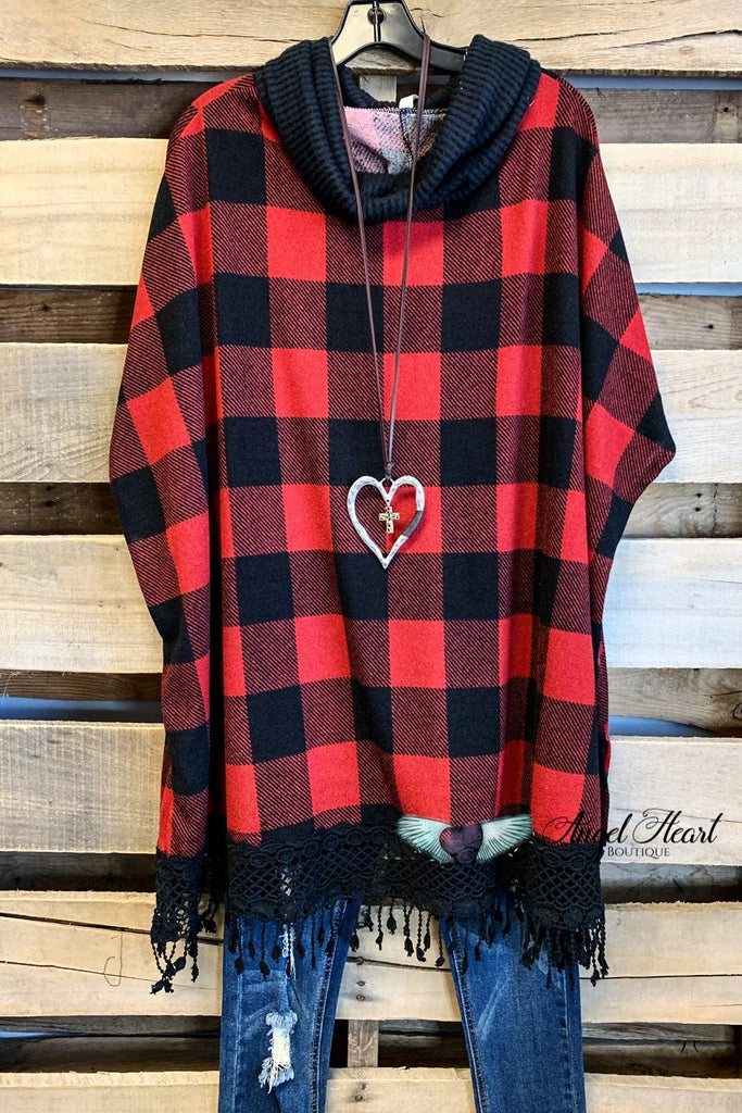 My Poncho Plaid - Red/Black - SALE