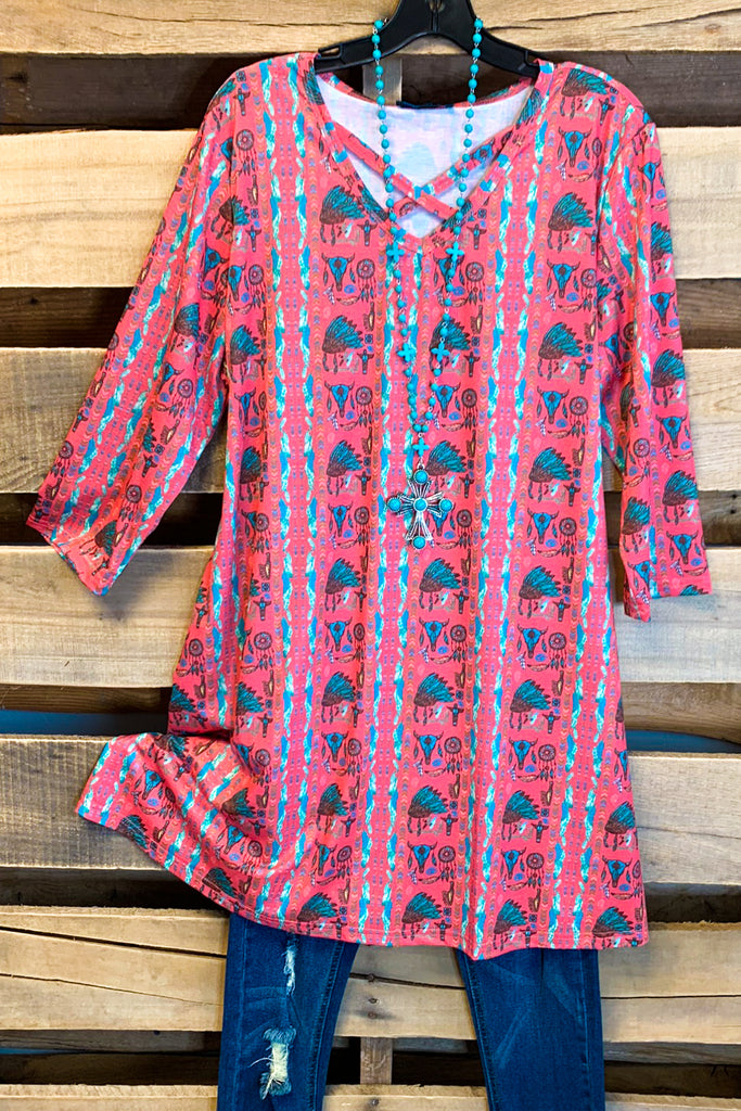 Navajo Vibes Tunic - Coral - SALE