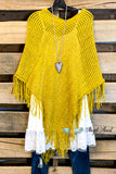 Two Way Sequin Poncho/Shawl - Mustard
