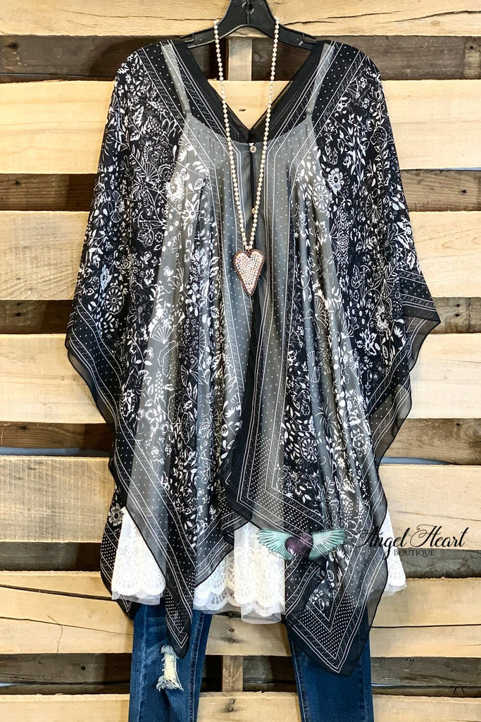 TWO WAY PONCHO STYLE TUNIC TOP - BLACK