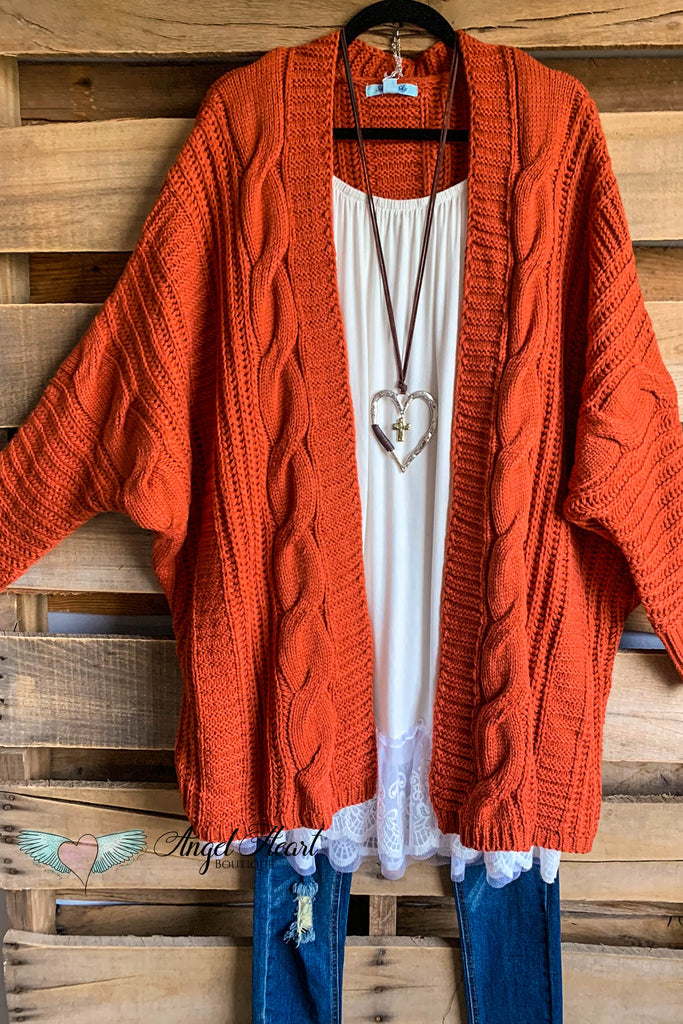 Snowy Mountains Oversized Cardigan - Rust