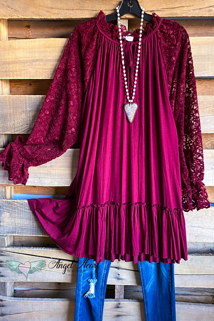 Carefree Lace Dress - Burgundy