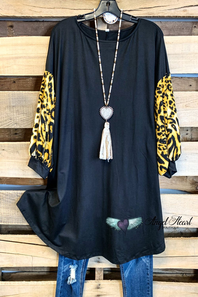 Lounge The Day Away Dress - Black/Leopard - SALE