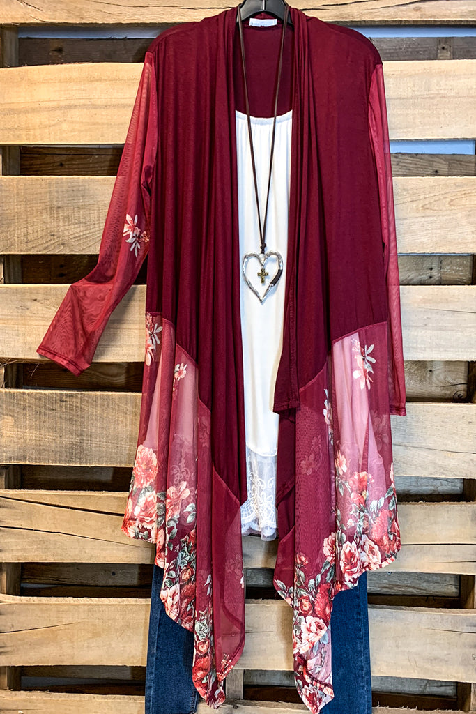 Summer Divine Cardigan - Burgundy