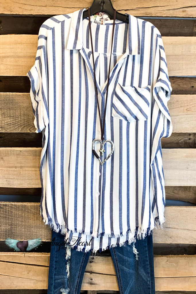 Striped Button Up Top - Navy