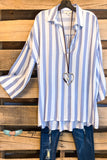 Got It Right Striped Top - Blue - SALE