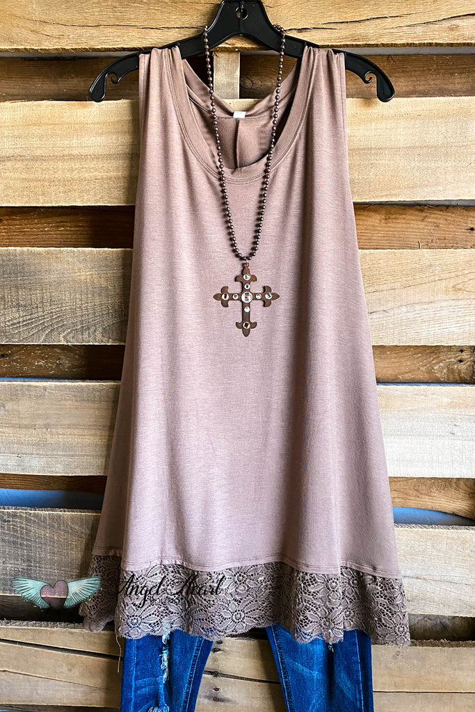 Sleeveless Lace Bottom Tank - Mocha