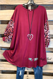 Looking The Day Away Dress - Leopard/Burgundy - SALE