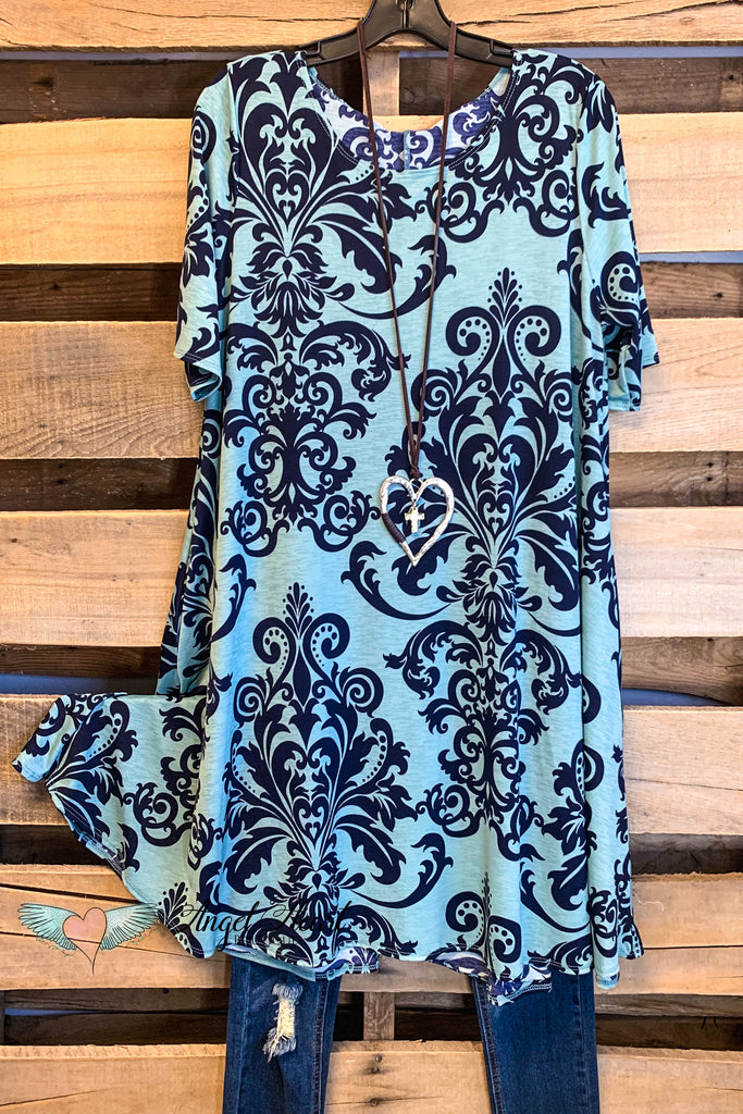 Damask Fairytale Short Sleeves Dress - Seagreen