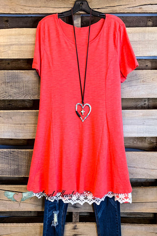 Sunny Daze Top - Coral - Straight Cut