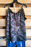 Going Girl Camo Satin Cami - Grey