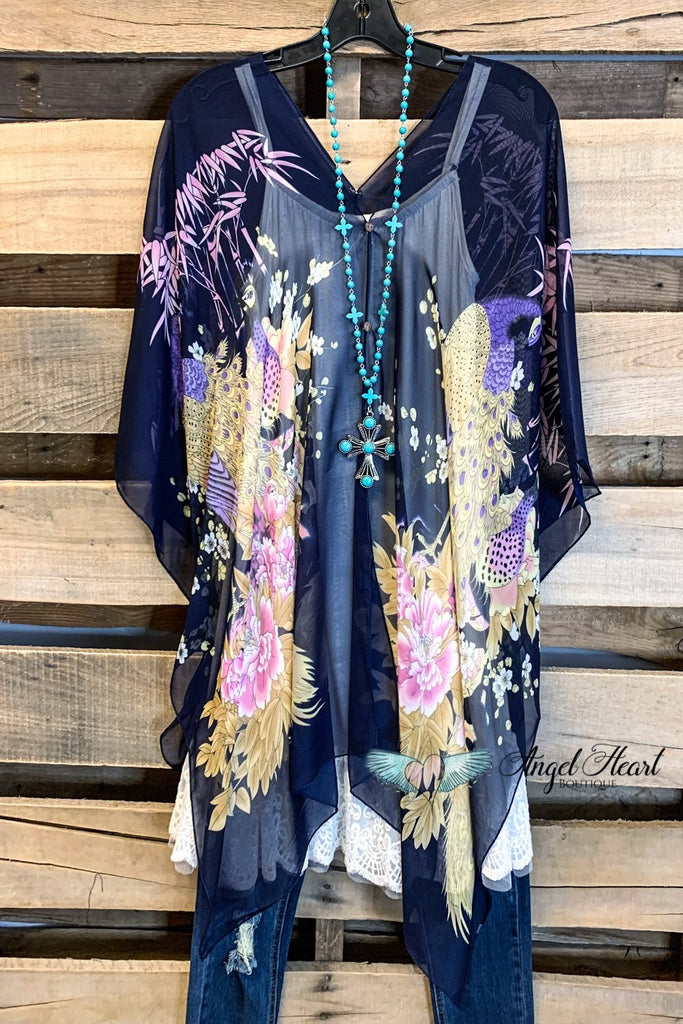 TWO WAY PONCHO STYLE TUNIC TOP - Navy/Peacock