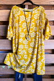 Floral Printed Shift Dress - Mustard