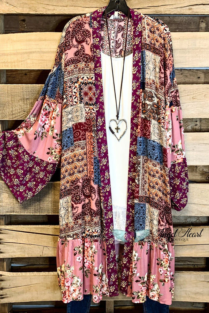 What a Beauty Long Duster/Kimono - Berry Mix