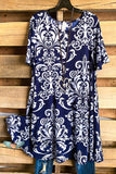 Damask Fairytale Short Sleeves Dress - Navy
