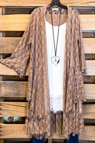 Hung On Love Cardigan - Cream/Grey