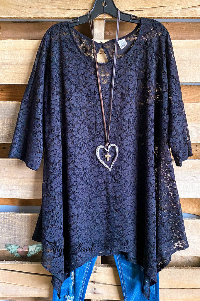 Dreamy Desires Lace Tunic - Black - SALE