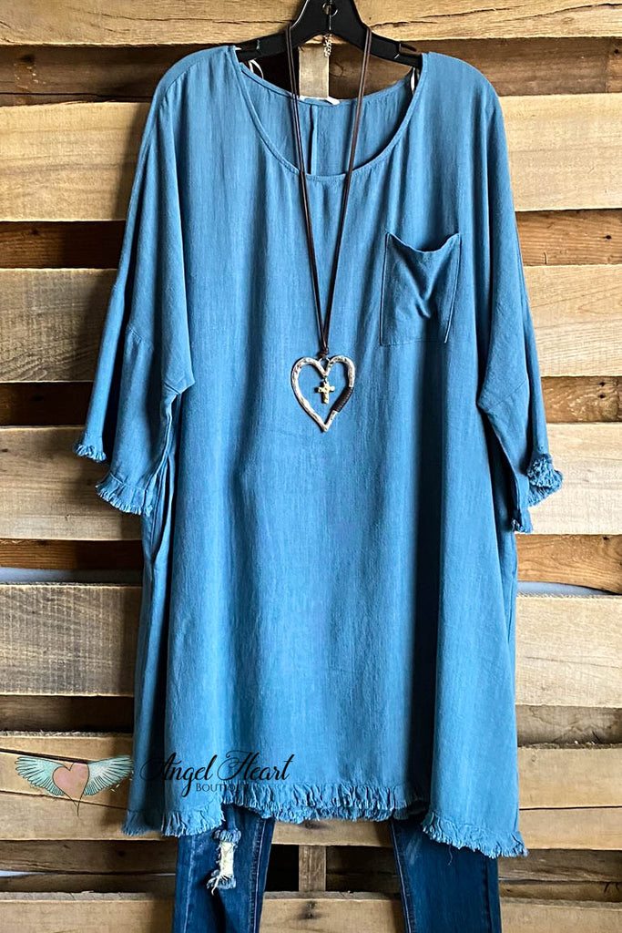 Frayed Feelings Dress - Dusty Blue - COTTON LINEN BLEND