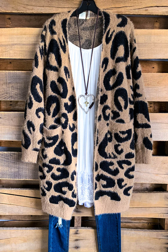 Never Have To Wonder Sweater Cardigan - Leopard