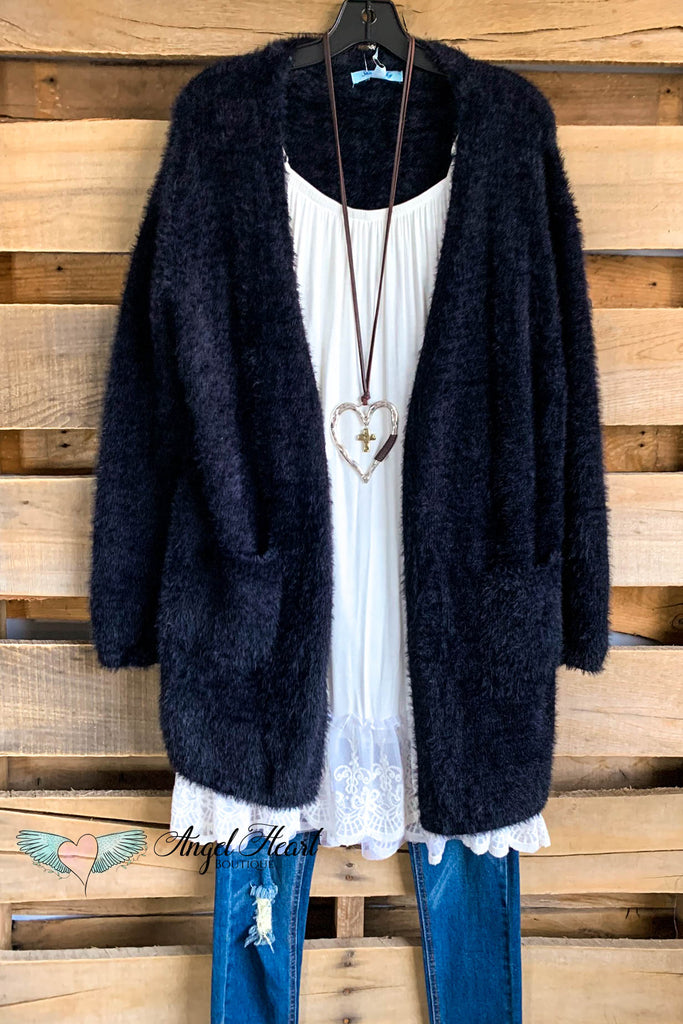 Warms My Heart Cardigan - Black - SALE