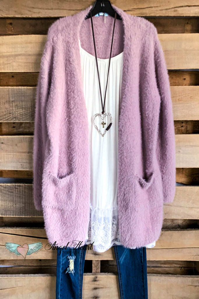 Warms My Heart Cardigan  - Mauve