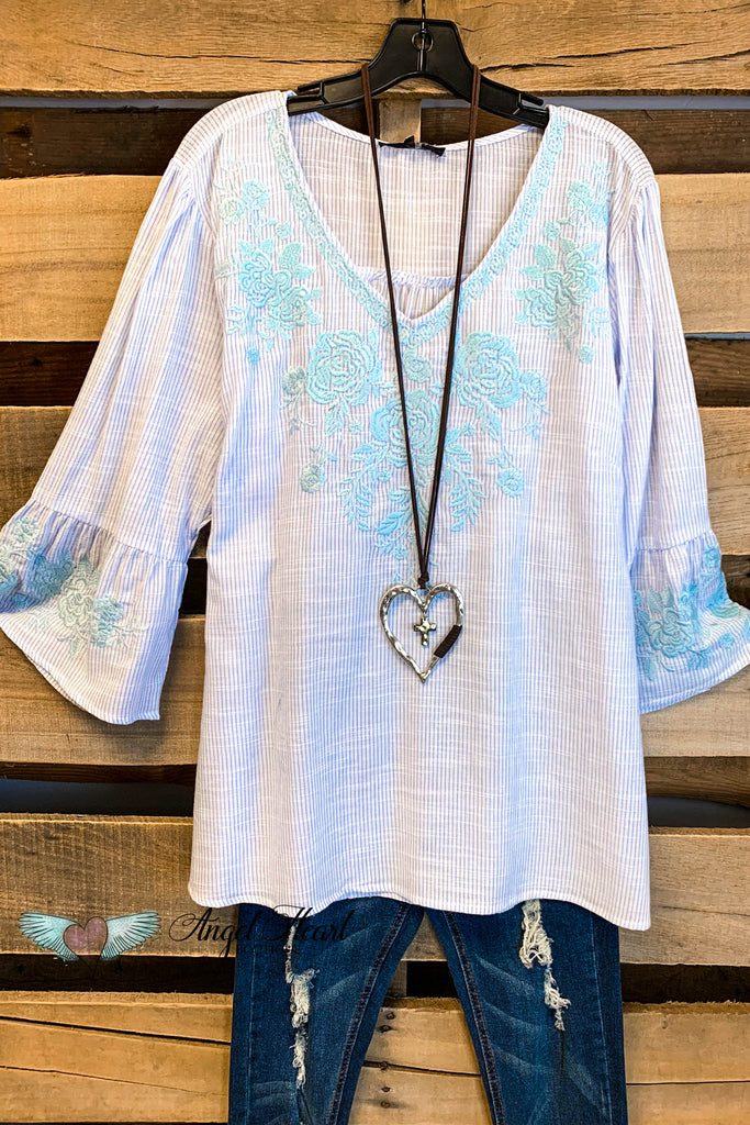 Paradise is Calling Top - Blue - 100% COTTON