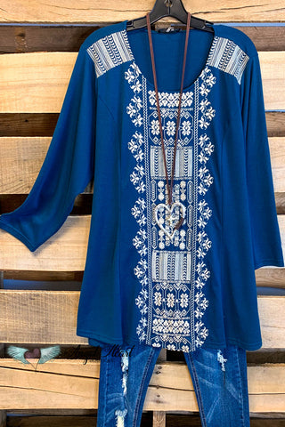 Let It Matter Oversized Top - Blue Mix