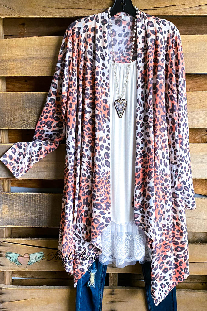 Melody Love Waterfall Cardigan - Leopard/Coral