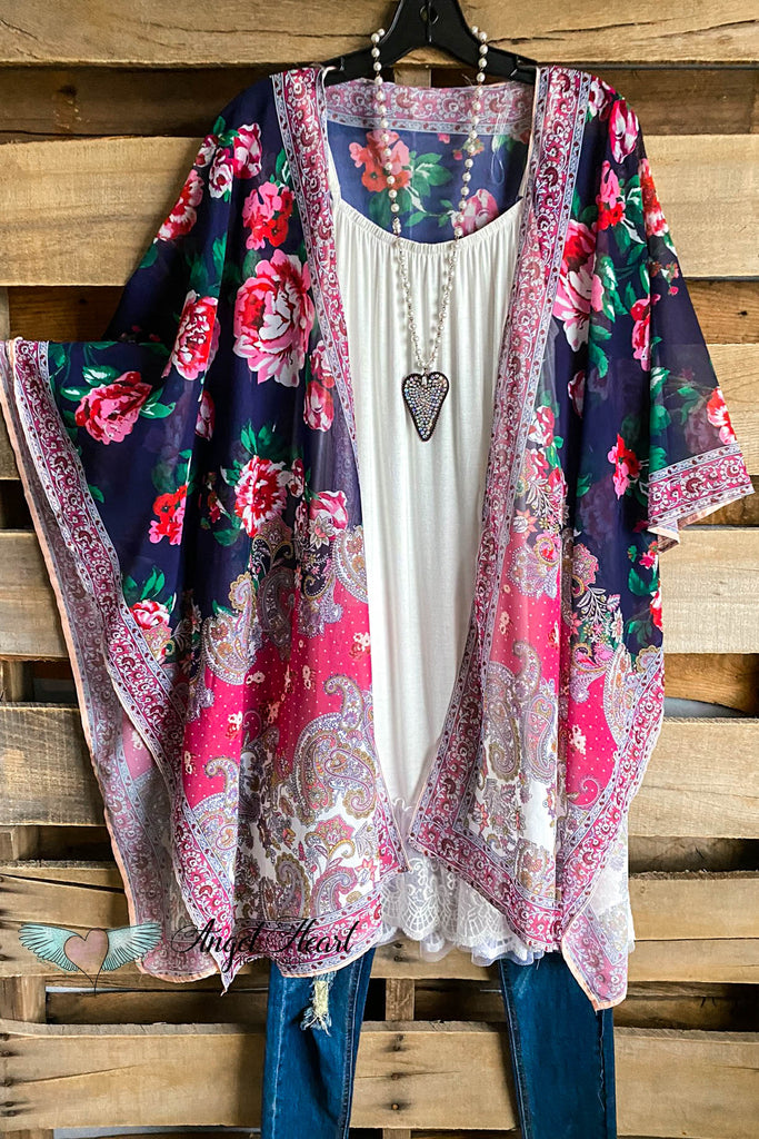 Sweet Saturdays Kimono - Navy