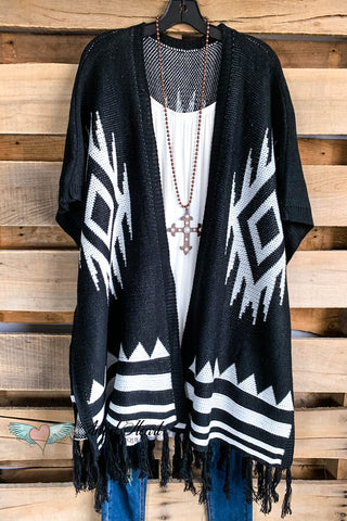 AHB EXCLUSIVE: Classic Stripes Turtle Neck Poncho - Black