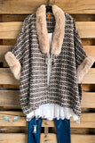 That Classic Look Poncho - Beige - Faux Fur